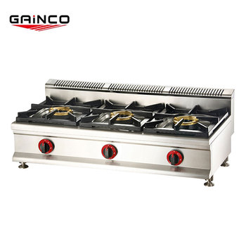 Factory direct supply chinese cooking stove stainless steel 3 big burner table gas stove/cooktop