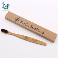 Black Charcoal Bristle Travel Adult Environmental Wood Fiber Bamboo 100% Biodegradable Soft Natural Toothbrush Fda