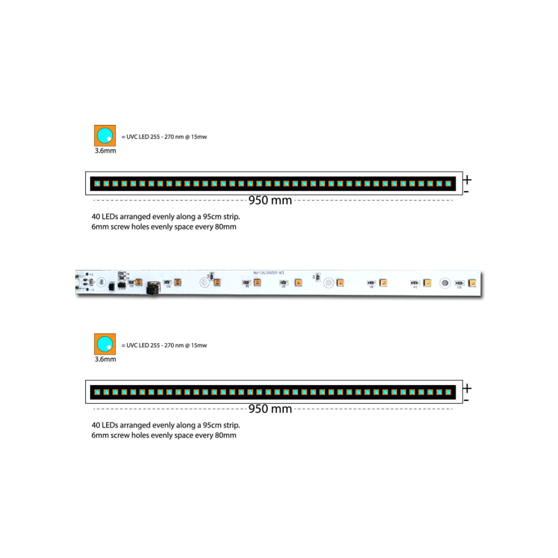 Custom length 270 nm 275nm 280nm led strip light 3535 germicidal uvc led strip