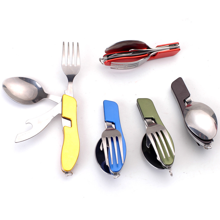 4in1 foldable stainless steel fork spoon knife opener outdoor tableware travel camping cutlery kit <strong>set</strong>