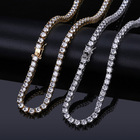Hot sales hiphop jewelry Shiny customizable necklace rhinestone crystals chain necklace chain