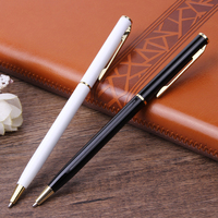2020 Gift Promotional Ball Pen Customized Logo Black White Slim Metal Body Twist Ballpoint Pen