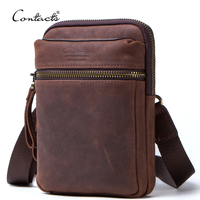 dropship contact's crazy horse leather adjustable shoulder strap men custom small messenger sling bag with front zipper pocket