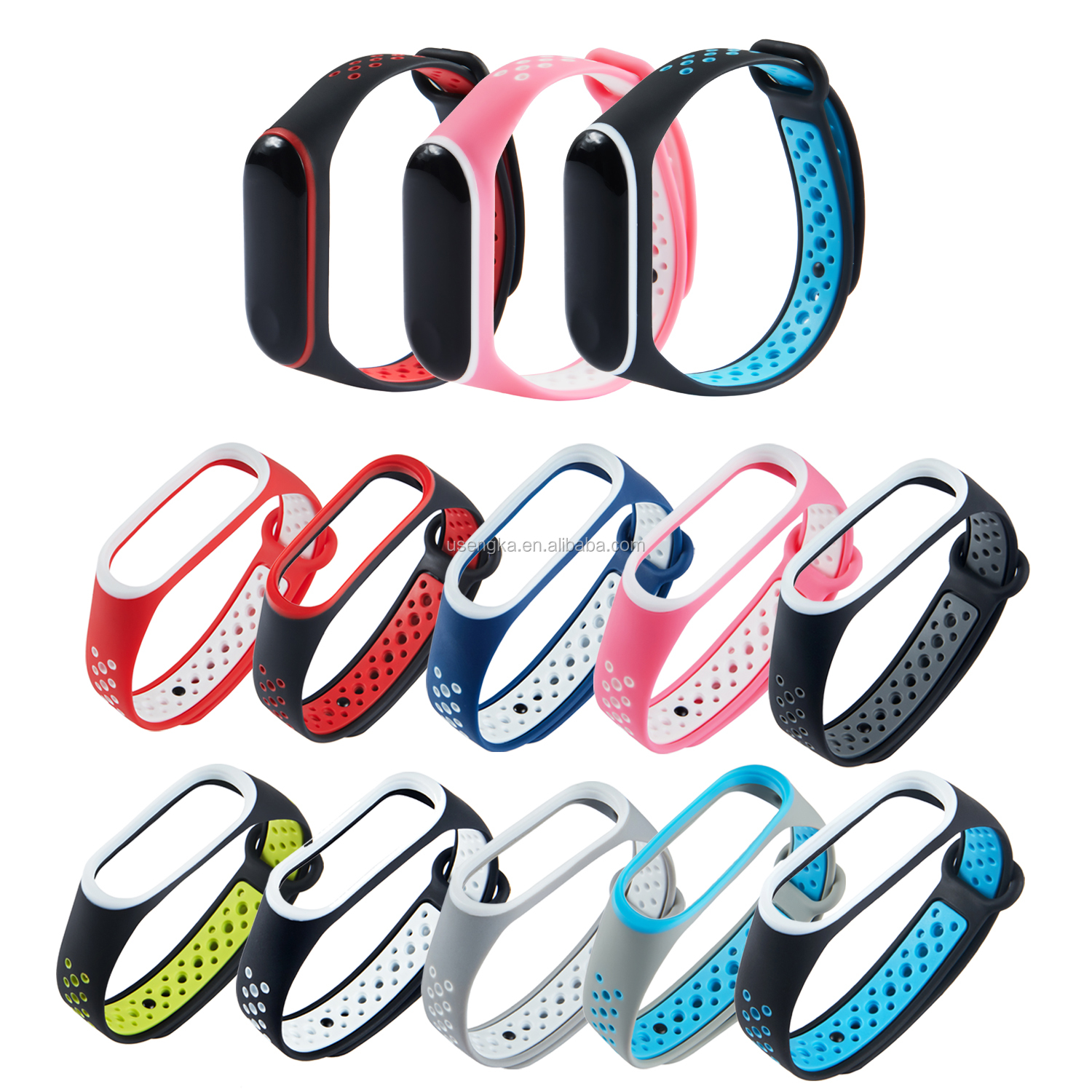 Young Fashion Mixed Colorful Silicone mi3 mi4 Silicone Watch Bands for xiaomi  MI Band 3 4 Strap Accessories