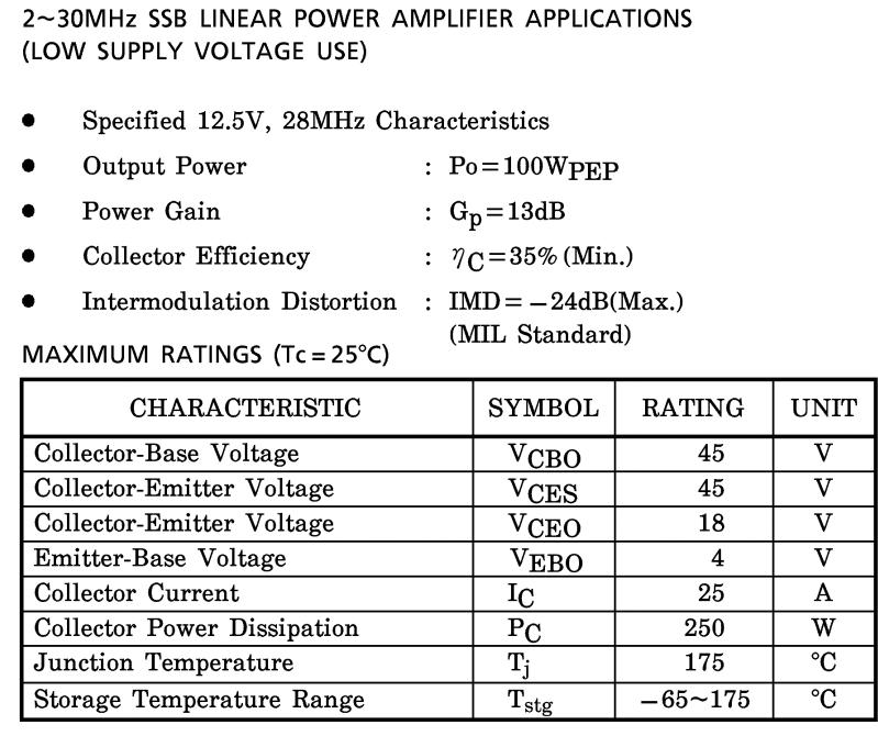 (2SC2879 2 ~ 30MHz SSB doğrusal güç amplifikatörü uygulamaları) transistörler 2SC2879