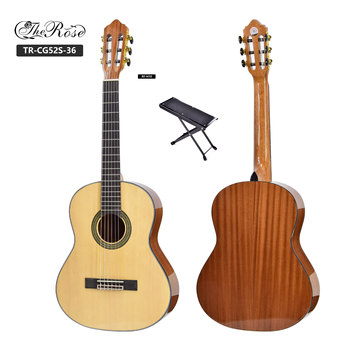 Handmade 36inch 3/4 solid top wood classical guitar with pedal guitar foot rest plate for comfortable and solid support