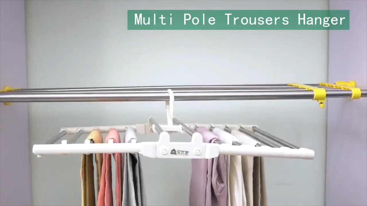 Bespaar Ruimte 10 Tiers Opvouwbare Broek Sjaal Hanger Multi Polen Closet Kleerhanger Met Roterende Haken Anti Slip