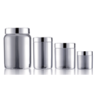 Matt Silver Vitamin Plastic Pill Bottles With Lid