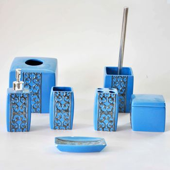 JIASHUN 7 pieces Blue Glaze Ceramic Bathroom Accessories Sets Luxury Toilet Items with Silver Plating
