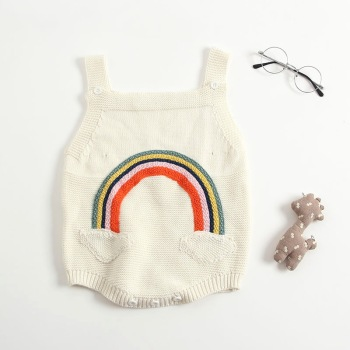 2019 fashion rainbow knitted baby sweater romper wholesale