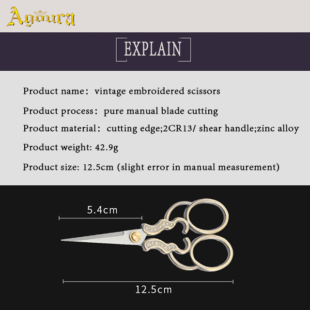 Professional stainless steel embroidery scissors craft vintage tailor scissors