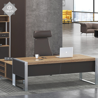 Modern office furniture L shaped computer desk MDF melamine wooden veneer manager executive office desk