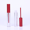 5ml Deep red round brush lip gloss tubes with wands