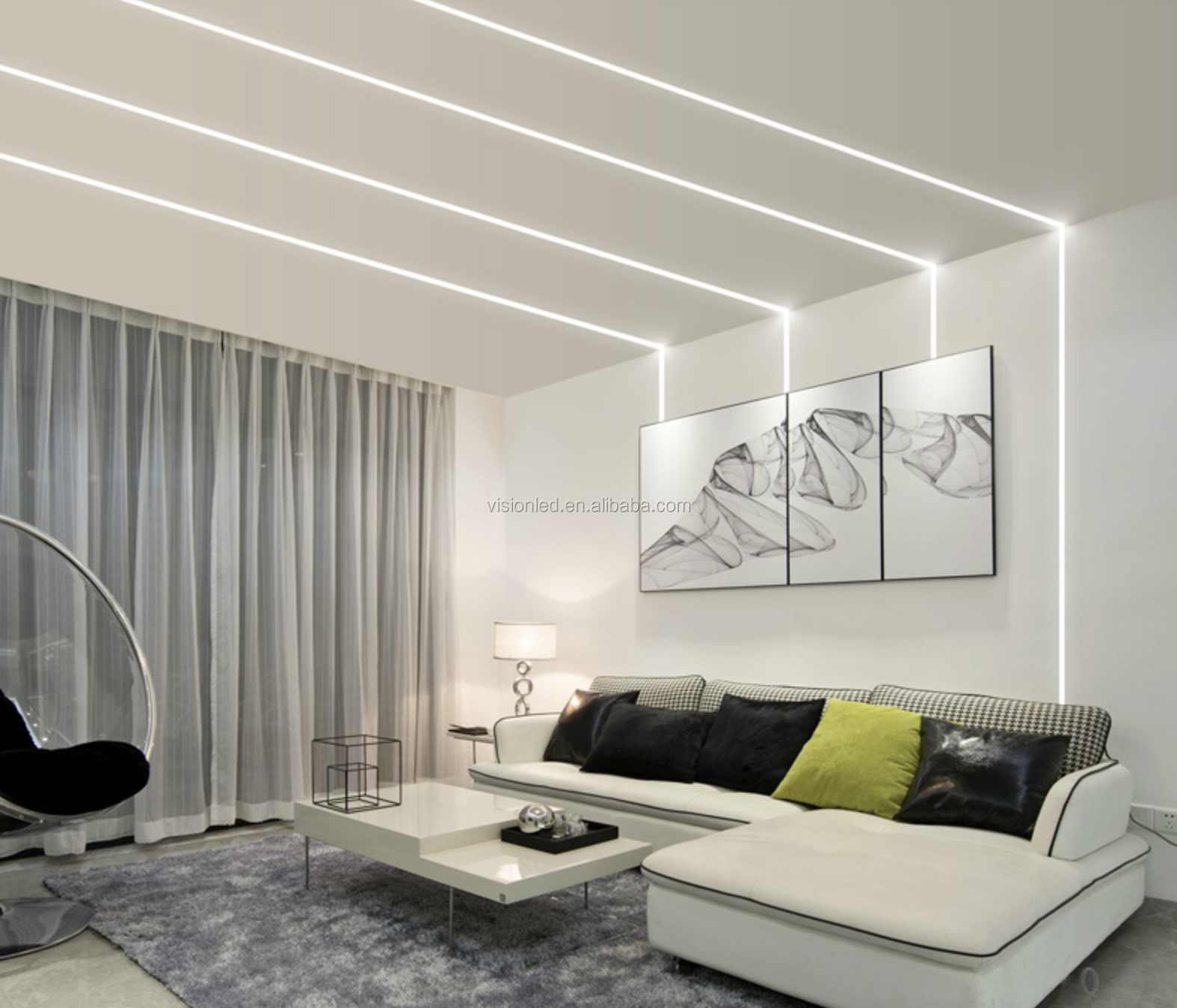 Trimless Recessed Drywall use architectural gypsum plaster aluminum profile for LED Strips, 8pcs a lot (1meter/pcs)