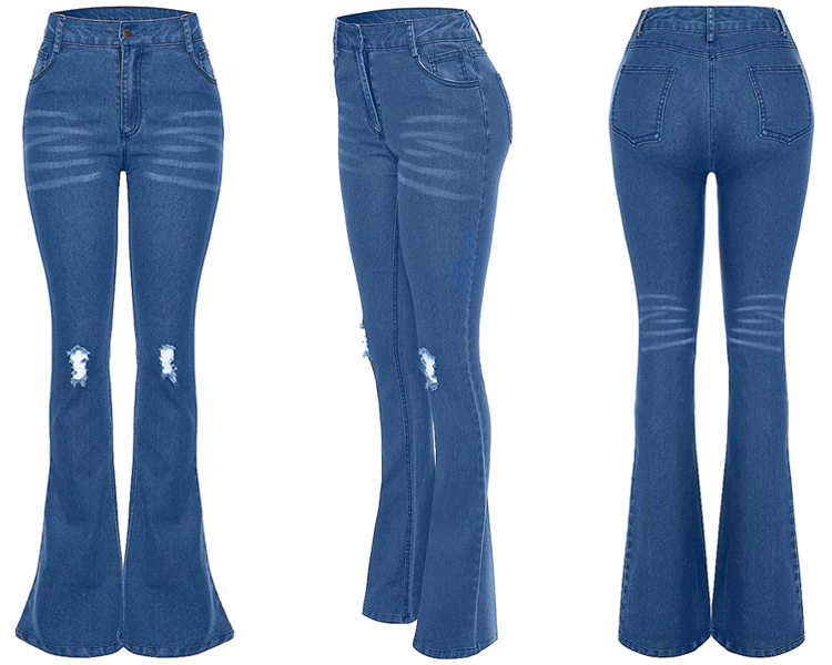 2019 new blue high-waist flared jeans for women elastic bell-bottoms denim trousers wholesale