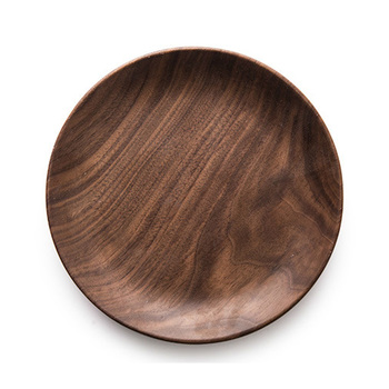 round wooden plates black walnut wood food serving dishes for sale