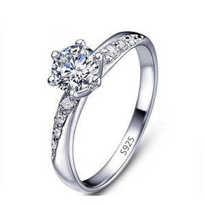 14K White Gold Austrian Crystal Diamond Engagement Infinity Ring 925 Sterling Silver Round Cut Diamond Wedding Rings For Women