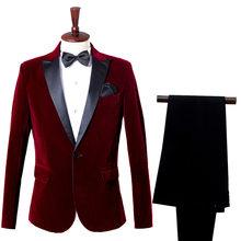Новинка 2020, элегантный мужской повседневный смокинг жениха, свадебное платье, мужской деловой костюм, винно-красная синяя одежда с лацканам...(Китай)