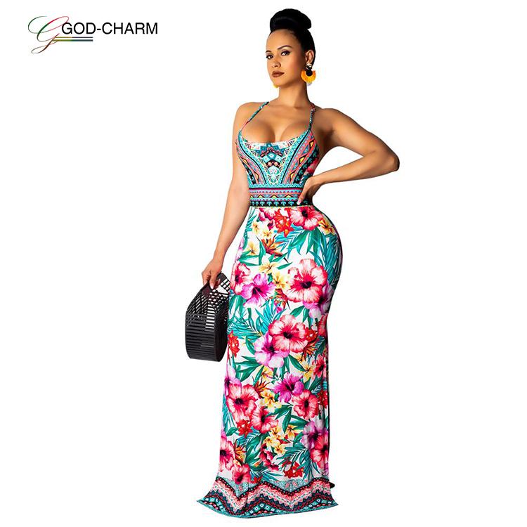 YH-436234C wholesale sexy Summer 2020 new bohemian flower print maxi dress