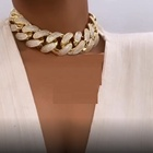 gold plated micro pave cz iced out bling 30mm cuban link choker necklace