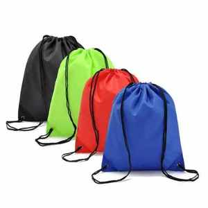 Good quality promotional waterproof polyester drawstring backpack bag with custom logo