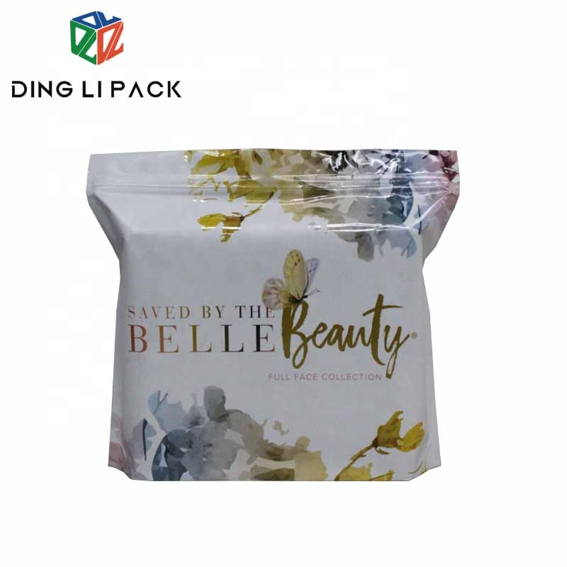 Resealable custom print smell proof aluminum foil cosmetic bags packaging stand up zipper bag with logo for makeup