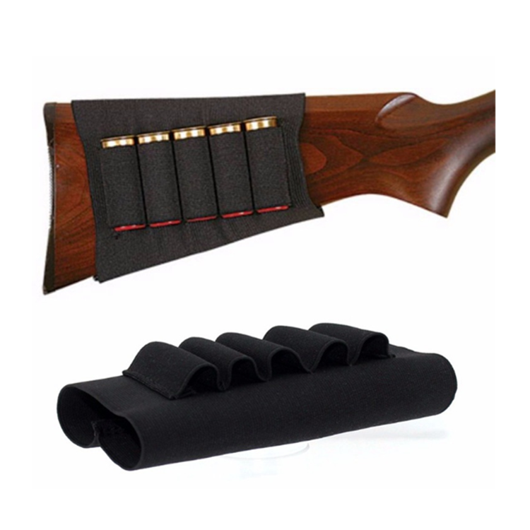 Black 5 Shells Tacticalgear Shotgun Butt Stocks Shell Pouch Holder for Outdoor Hunting