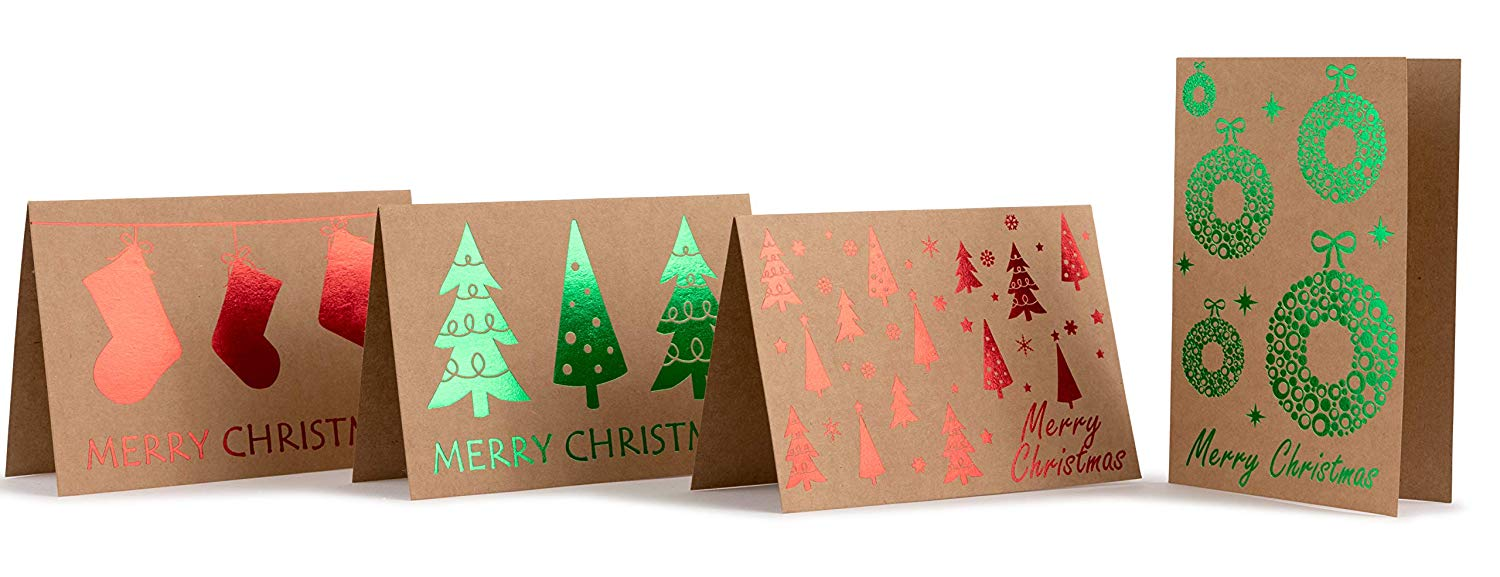 China Factory Supply Brown Kraft Paper Custom Christmas Greeting Card With Colorful Gold Stamping