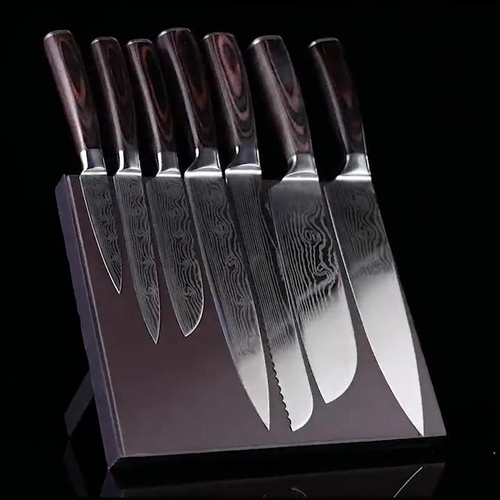 Súper afilado Cuchillo de chef de cuchillos de cocina con sándalo mango de acero de Damasco cuchillo de chef conjunto