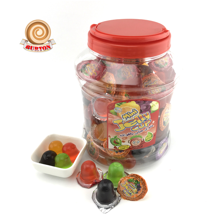 Hot sale in South America mini cup fruit jelly 100pcs in jar