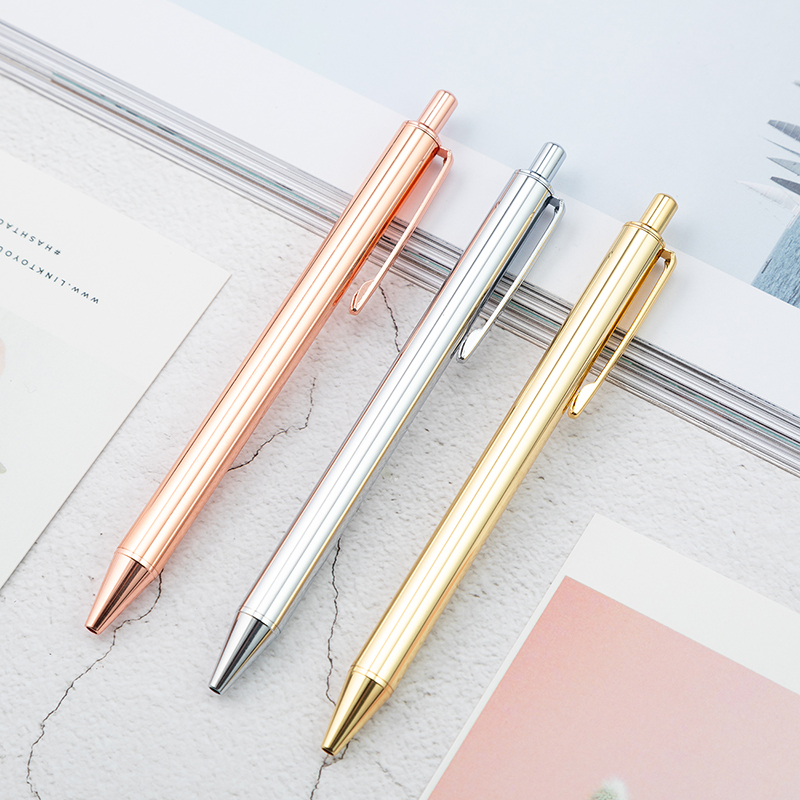 Luxury Promotional Metal Click Ball Pen With Logo Customized Advertising Rose Gold Silver Ballpoint Pen Personalized Gift