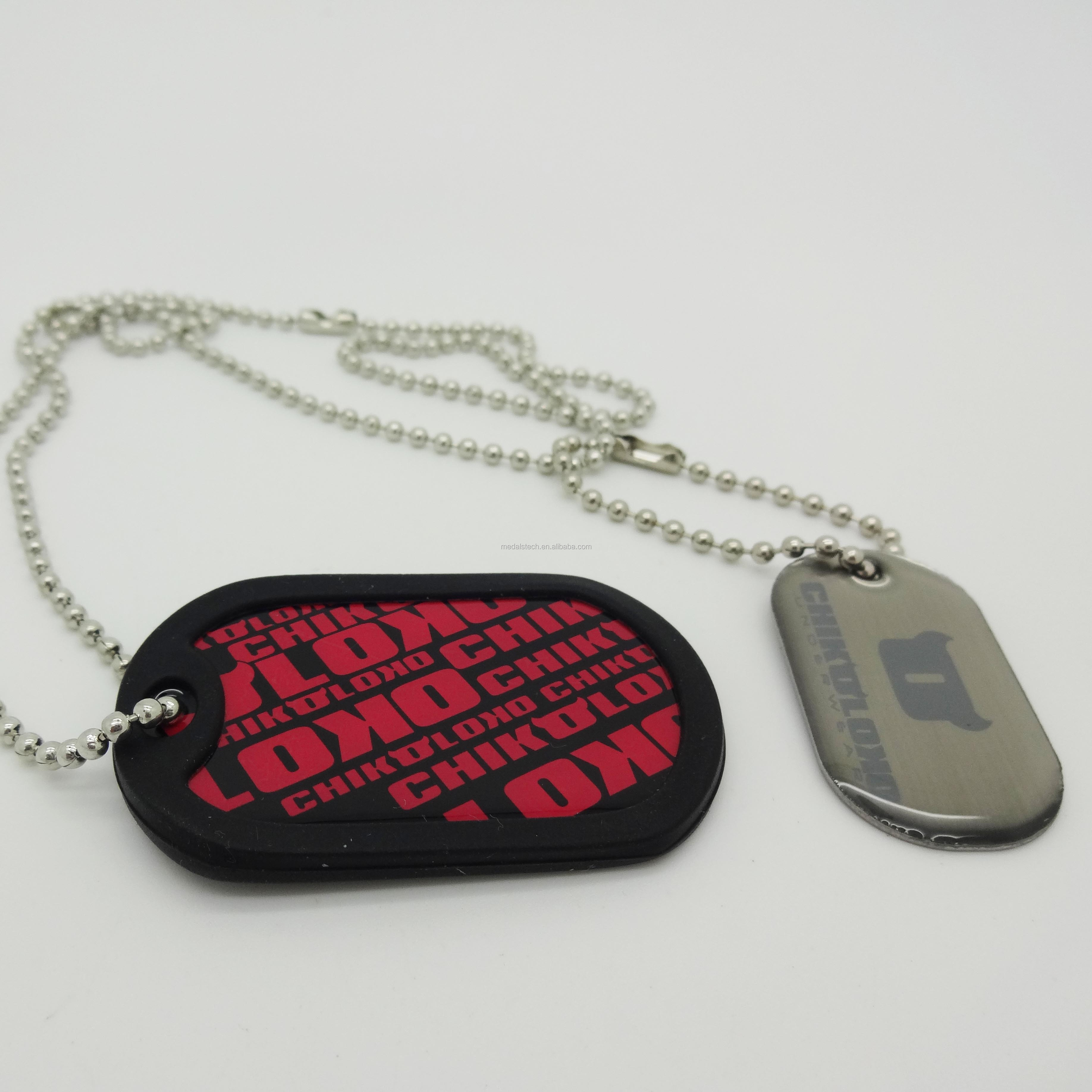 Promotional wholesale customized printed sublimated military dog tags