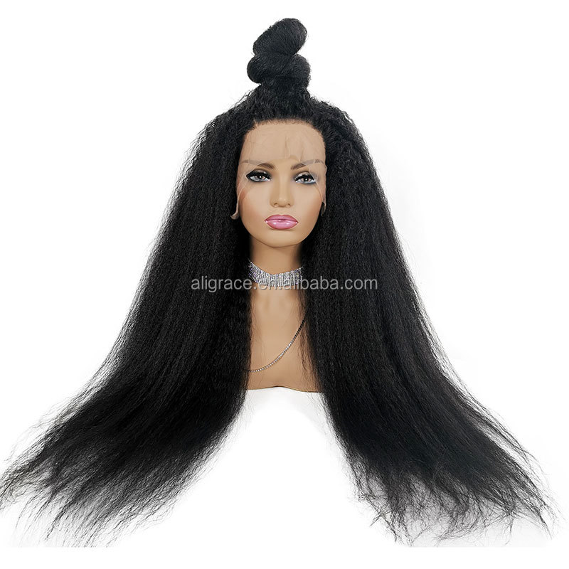 Glueless Full Lace Wigs Pre Plucked Kinky Straight Full Lace Wig Human Hair 180% Density Brazilian Kinky Straight Wig