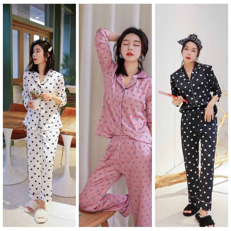 2020 kadın pijama beyaz ipek eşarp boyama için seksi iç çamaşırı sıcak uzun kollu pantolon ev giysileri