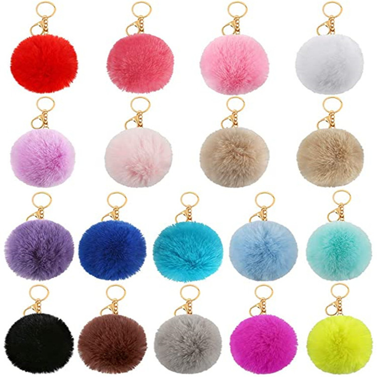 Amazon Top Seller Fluffy Pompoms Pom Pom Keychain Ball
