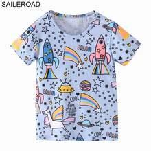 SAILEROAD Динозавр Печати Дети Топы Футболка для Детской Одежды Лето 2020 Мальчики Футболки Хлопок 7 Лет Одежда Для Девочек-Девочек(Китай)