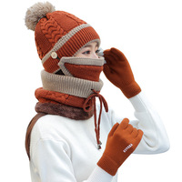 Q512 High Quality Solid Color Ring Scarf Mask Hat Gloves Set 4 pcs Fleece Lined Pom Pom Beanie Touch Screen Gloves Winter Hats