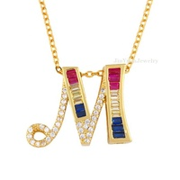Rainbow CZ Micro Pave Initial Letter Women Pendants Necklace Jewelry
