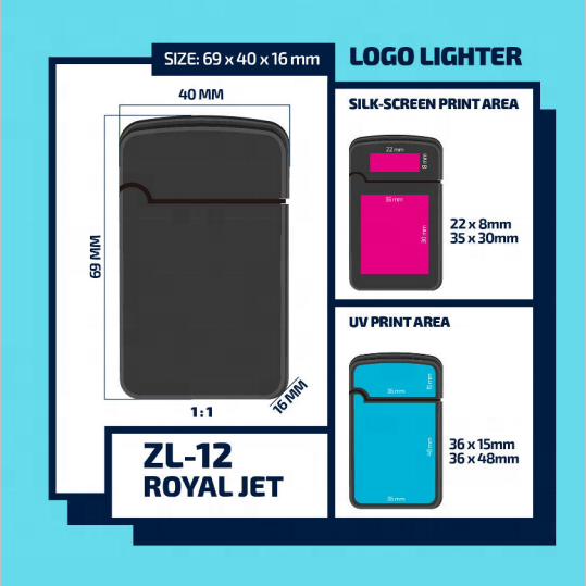ZENGAZ ZL-12 Windproof Jet Flame Lighter Custom Logo Design Printed Lighters