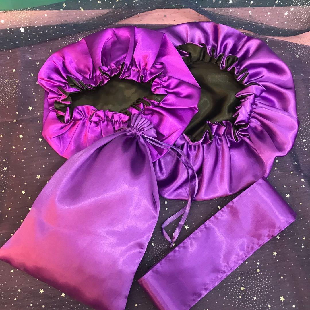 Оптовая продажа на заказ фронтальные обертывания атласные повязки на голову шелковые повязки для волос шарф и сумка для волос Пользовательский логотип