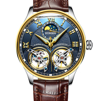 BINGER 8606B L Fashion Men Original Automatic Double Tourbillon Self Wind Switzerland Watches Leather Mechanical Wristwatch