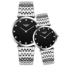Парные часы GUANQIN Модные кварцевые часы женские Роскошные Кварцевые часы из нержавеющей стали мужские наручные часы для влюбленных Relogio Feminino(Китай)