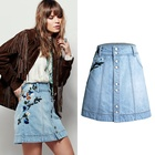 Ladies vintage skirt , button fly Embroidered ladies skirt women jean skirt