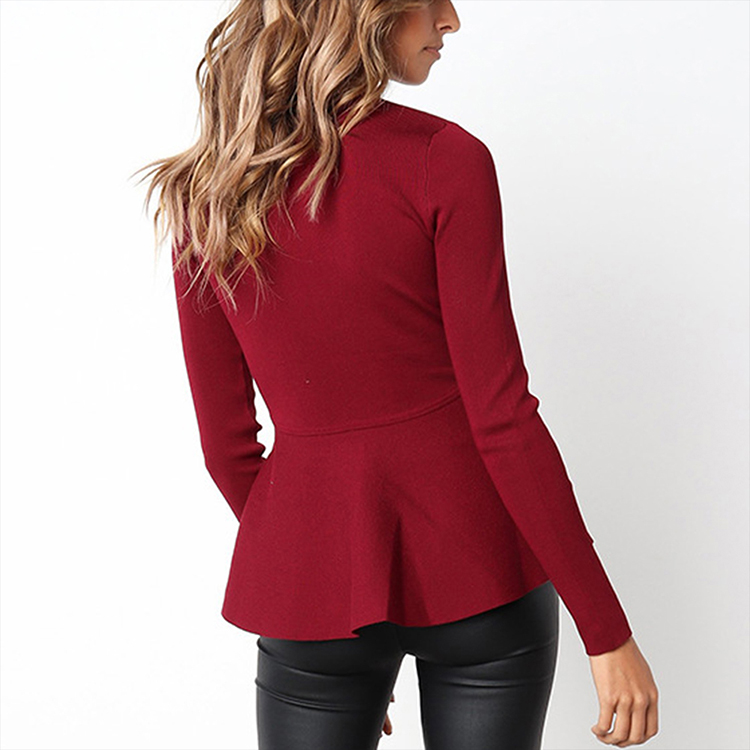 Softy Ruffle Hem Waist Slim Long-Sleeved Winter Knitted Blouses Women