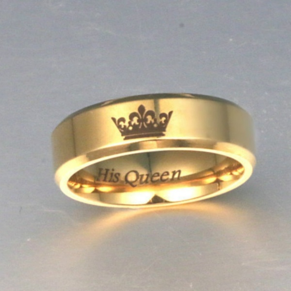 His Queen Her King brass Wedding Finger Rings for Women Men Couple Promise Jewelry band ring