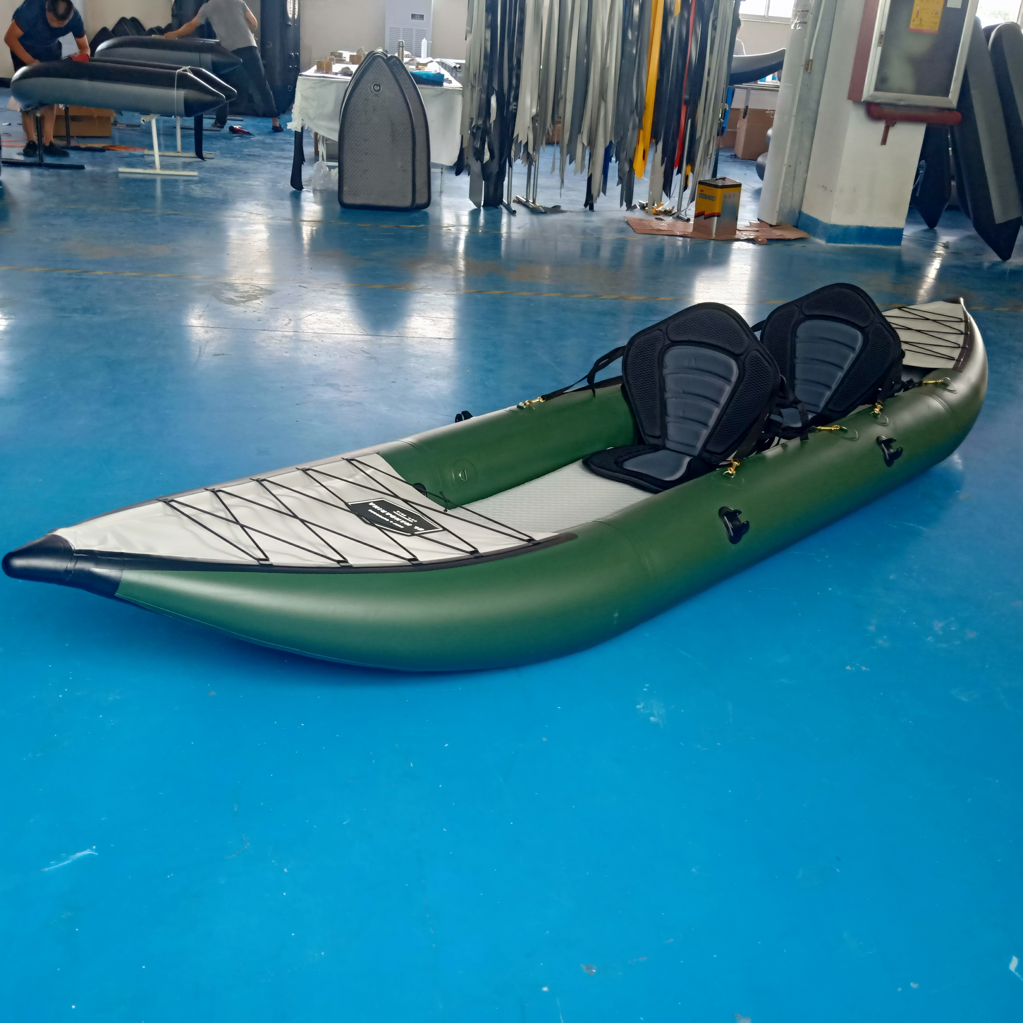 2 person inflatable fishing kayak canoe with removable fabric seats