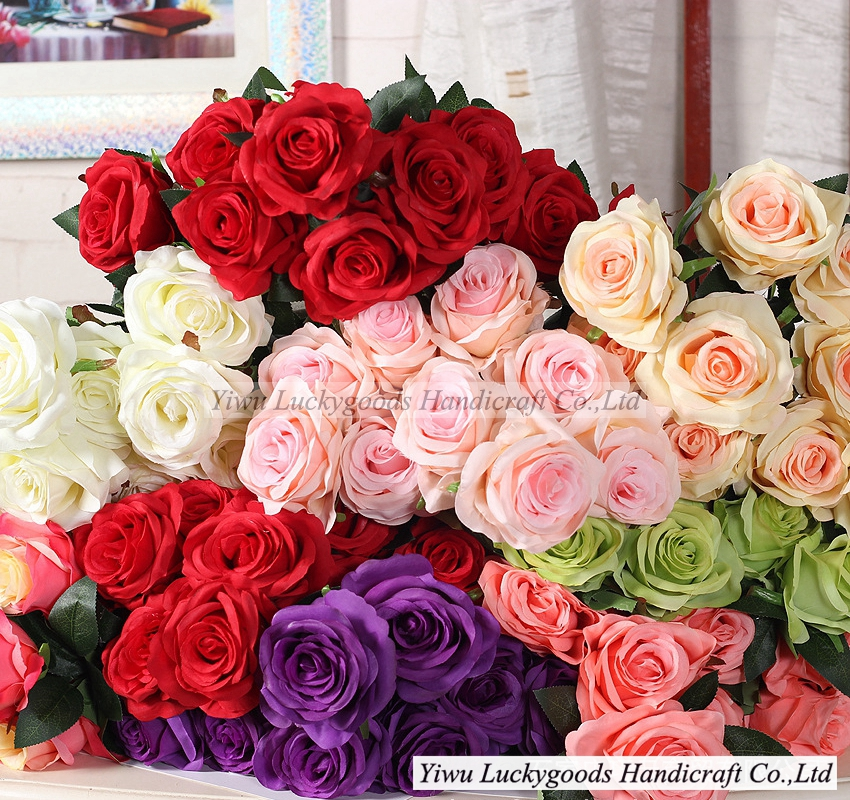 LFR123 Hot sale silk artificial flowers rose head with leaves for Valentine's Day