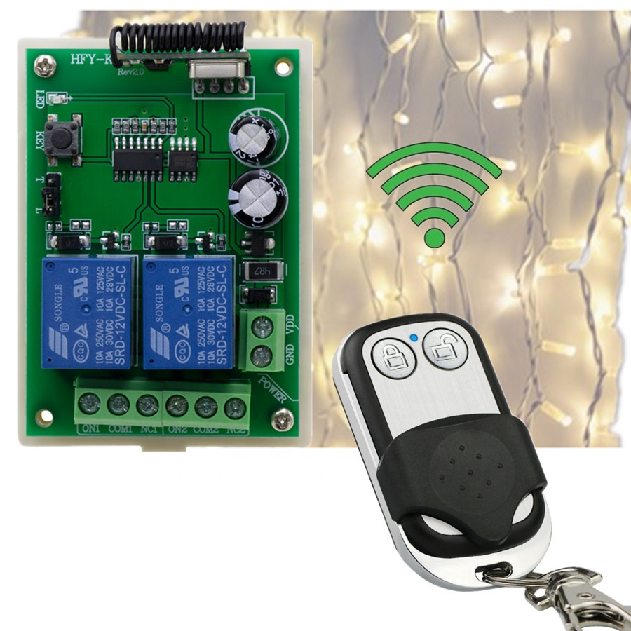 DC 12V 2 Channel RF 433MHz led lighting system Wireless Remote Control Switch Relay Receiver led control