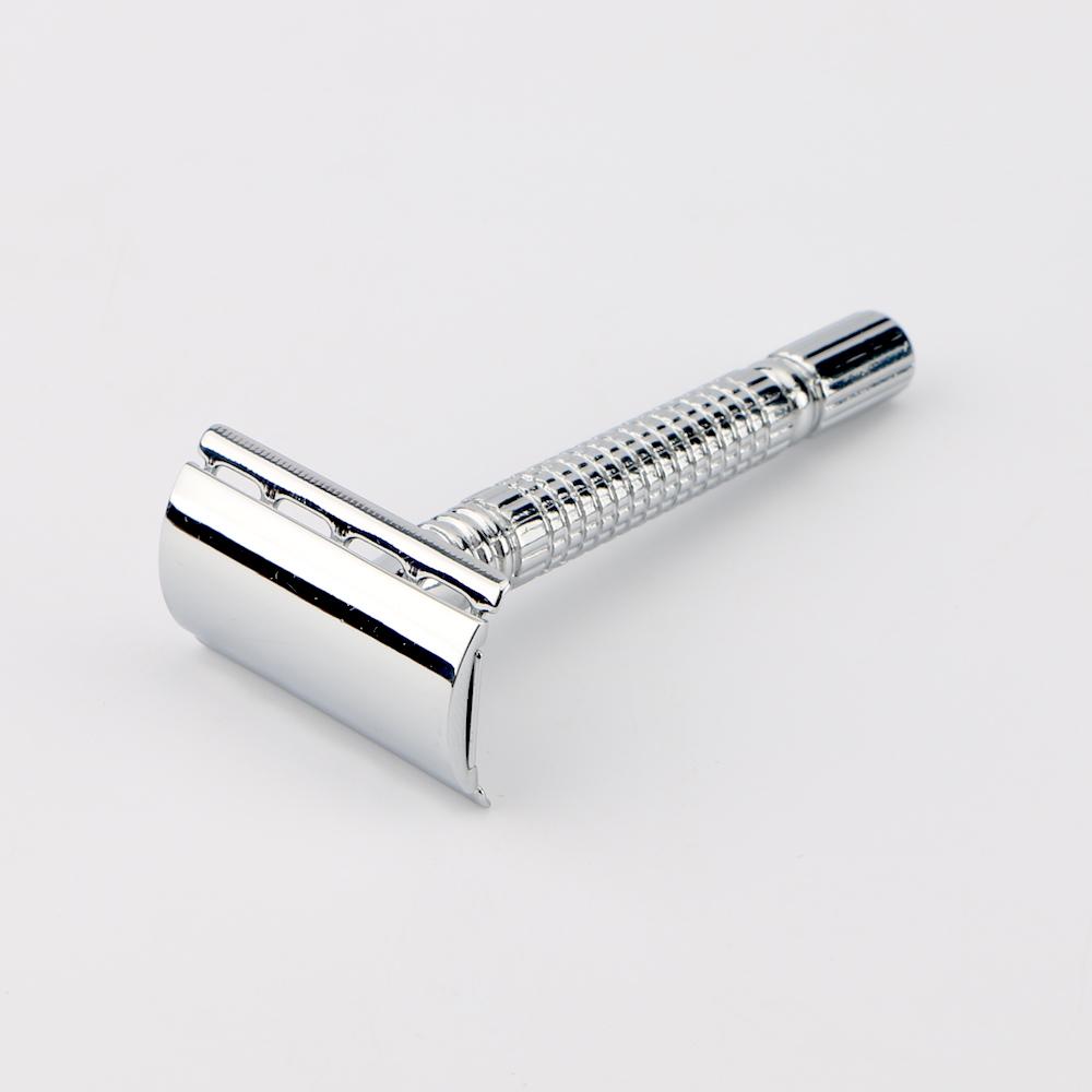 Haward D650 Classica double edge lama manico in metallo di colore argento rasoio di sicurezza