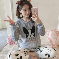Hot sale dog pattern pajamas women winter flannel christmas Sleepwear Ladies adult onesie Loose Nightgown Pajamas